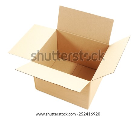 Brown cardboard box isolated on white - stock photo