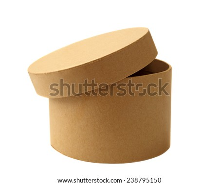 Brown cardboard box isolated on white. Studio shot, clipping path.