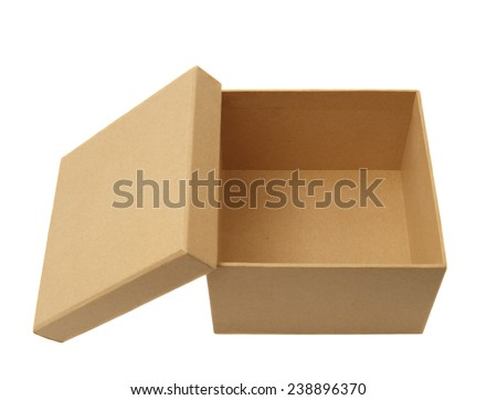 Brown cardboard box isolated on white.Studio shot, clipping path.