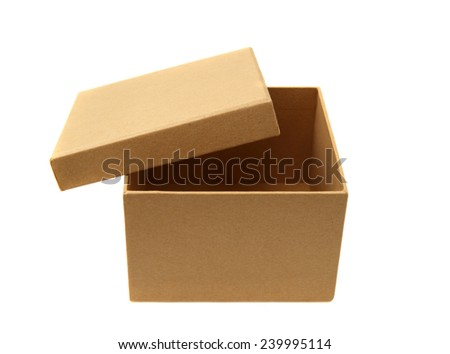 Brown cardboard box isolated on white. Studio shot, clipping path. - stock photo