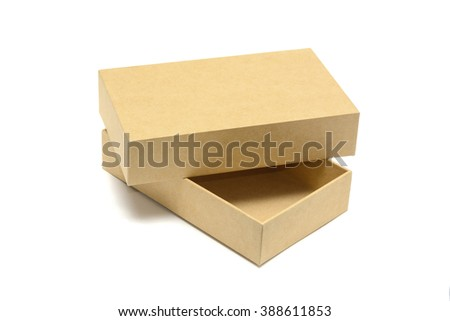 Brown cardboard box mock up isolated on white background