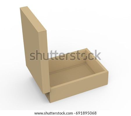 Brown cardboard box mockup, blank box template with vertical lid in 3d rendering