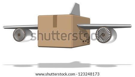 Brown cardboard box with airplane wings attached to it / Air cargo