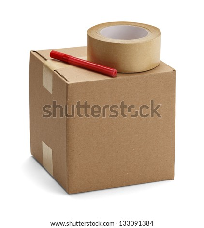 Brown cardboard box with packaging materials isolated on a white background. - stock photo