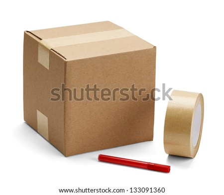 Brown cardboard box with packing supplies on isolated on white background. - stock photo