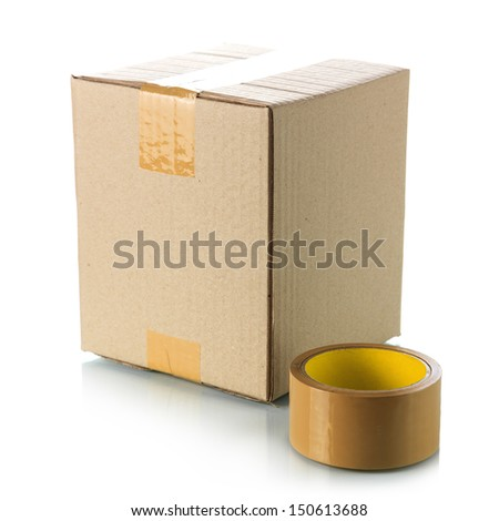 Brown cardboard box with packing tape - stock photo