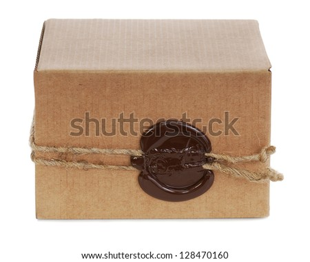 brown cardboard box with stamp isolated on white background