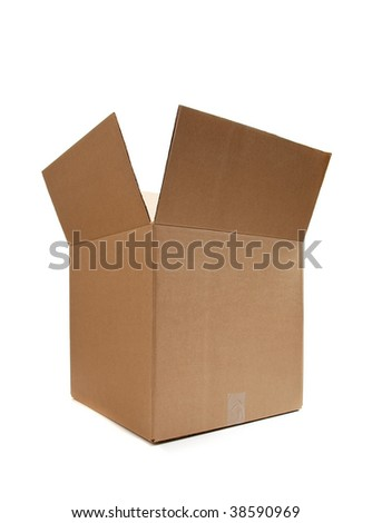 Brown cardboard moving box on a white background - stock photo