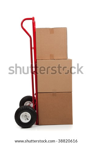 Brown cardboard moving box on a white background with a fragile sticker