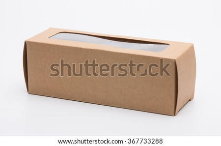 Brown cardboard retail box with window covered PVC plastic - stock photo