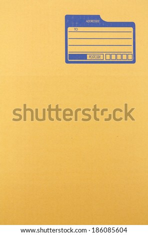 Brown cardboard with blank space for address - stock photo