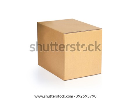 Brown carton box isolated on white background. This has clipping path. - stock photo