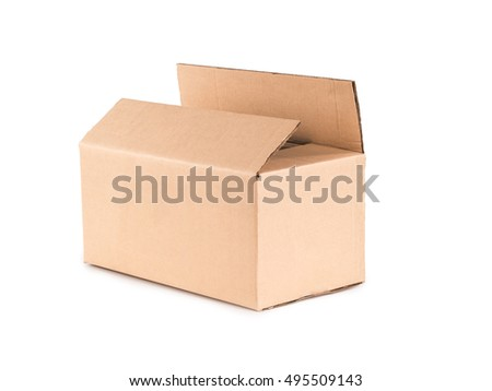 brown carton box on  white background
