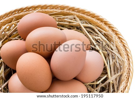 brown chicken eggs in basket isolated on white background - stock photo