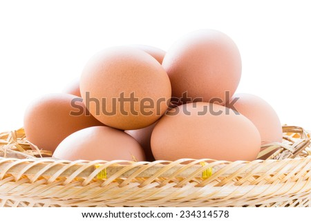 brown chicken eggs in basket isolated on white background with clipping path