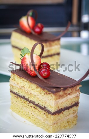 Brown Chocolate Cake With Strawberry