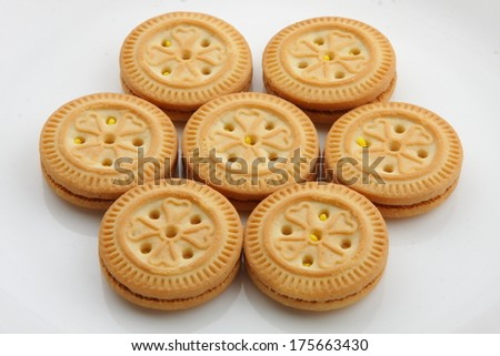 brown chocolate sandwich biscuits . - stock photo
