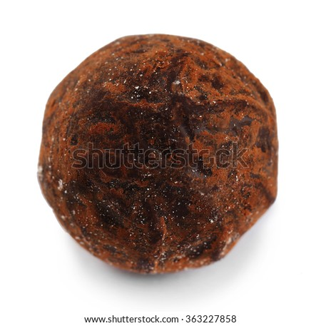 Brown chocolate truffle, isolated on white