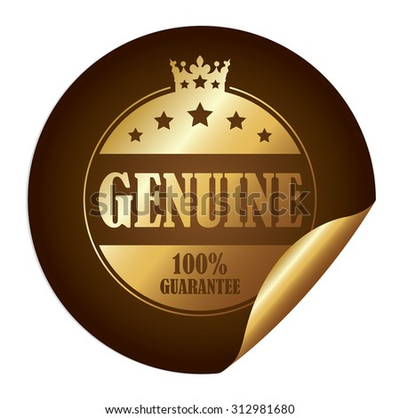 Brown Circle Genuine 100% Guarantee Infographics Peeling Sticker, Label, Icon, Sign or Badge Isolated on White Background - stock photo