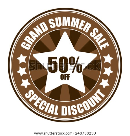 Brown Circle Grand Summer Sale 50% Off Special Discount Sticker, Icon, Tag, Badge or Label Isolated on White Background  - stock photo