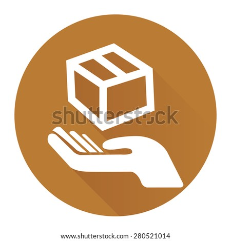 Brown Circle Hand With Box, Handle With Care, Do Not Drop Flat Long Shadow Style Icon, Label, Sticker, Sign or Banner Isolated on White Background - stock photo