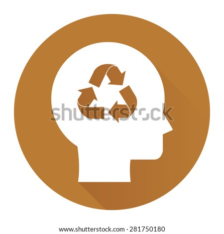 Brown Circle Head With Recycle Arrow Flat Long Shadow Style Icon, Label, Sticker, Sign or Banner Isolated on White Background - stock photo