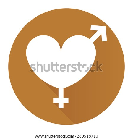 Brown Circle Heart With Male and Female Sign Flat Long Shadow Style Icon, Label, Sticker, Sign or Banner Isolated on White Background - stock photo