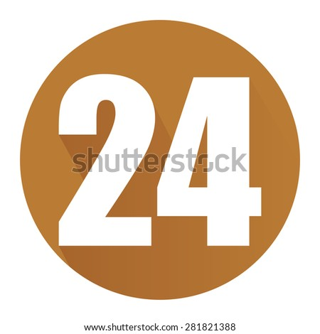 Brown Circle 24, 24HR, 24HRS, 24 Hours Service, 24 Hours Open Long Shadow Style Icon, Label, Sticker, Sign or Banner Isolated on White Background - stock photo