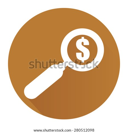 Brown Circle Magnifying Glass With Dollar Sign Flat Long Shadow Style Icon, Label, Sticker, Sign or Banner Isolated on White Background - stock photo