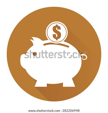 Brown Circle Piggy Bank With Dollar Currency Coin Flat Long Shadow Style Icon, Label, Sticker, Sign or Banner Isolated on White Background - stock photo