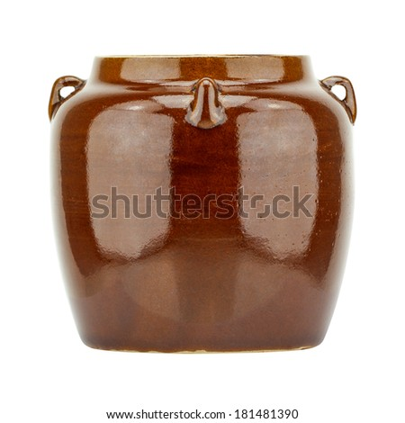Brown clay pot isolated on white background