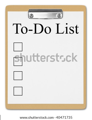 Brown clipboard with a to do list. - stock photo