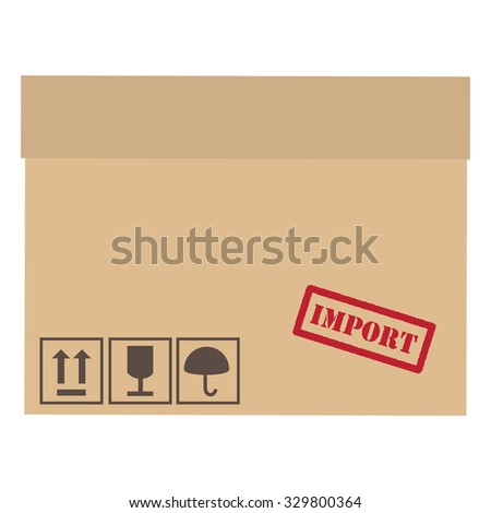 Brown,closed, cardboard box with red rubber stamp import and symbols fragile, keep dry,sign up raster - stock photo