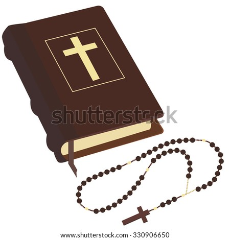 Brown closed Holy Bible and rosary beads with cross raster isolated - stock photo