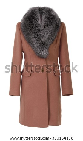brown coat isolated on white - stock photo