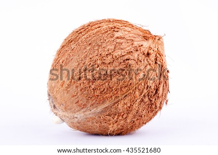 brown coconut shell  for coconut milk  on white background healthy fruit food isolated  - stock photo