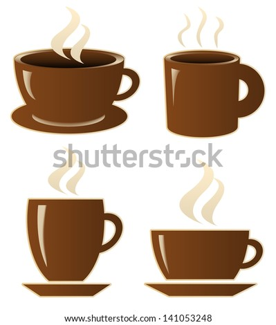 Brown coffe ikons on white background - stock photo