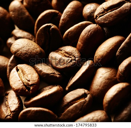 Brown coffee beans as background