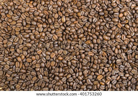 Brown Coffee Beans for Background and Copy - stock photo