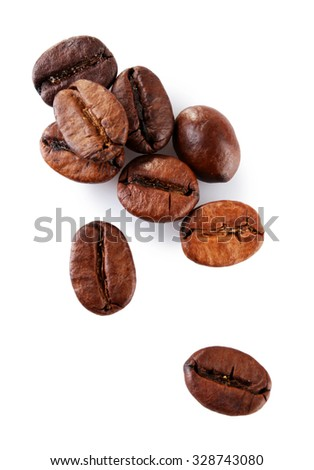 Brown coffee beans isolated on white