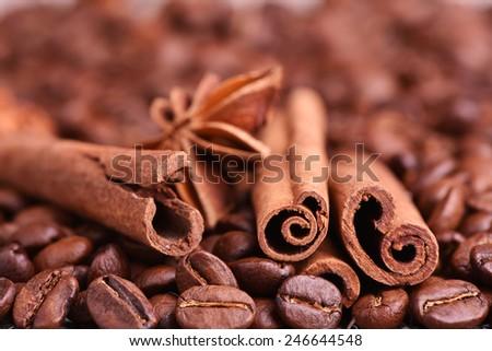 Brown coffee, cinnamon and star anise - stock photo