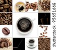 Brown Coffee Cup Beans collage - stock photo