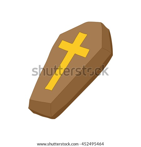 Brown coffin with cross icon in cartoon style on a white background - stock photo