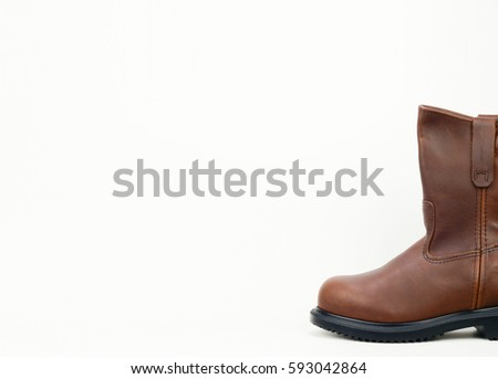 Brown color leather safety boot