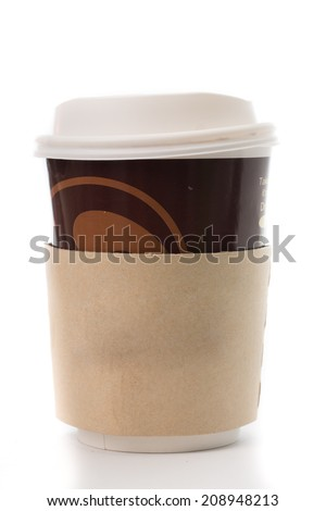 Brown color Paper cup with Sleeve isolated with white background