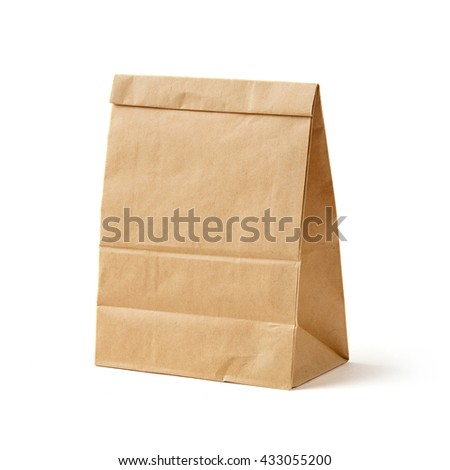Brown color recycled paper bag isolated on white, recyclable paper bag for food concept - stock photo