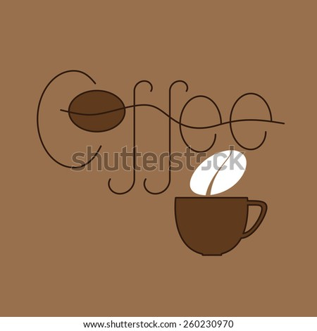 Brown colored lettering coffee and cup with steam in the shape of bean isolated on beige background. Logo template, design element - stock photo