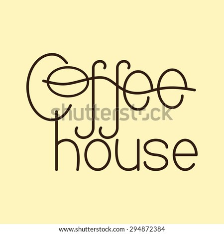 Brown colored lettering coffee house isolated on flaxen background. Logo template, design element - stock photo