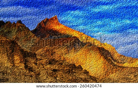 Brown colourful rocks and stones - oil painting look formation , illustration, artwork, mountain landscape, peaks, painting, art, abstract, mountains , ladakh landscape Leh, Jammu & Kashmir, India - stock photo