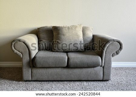 Brown comfortable couch inside home house inviting - stock photo